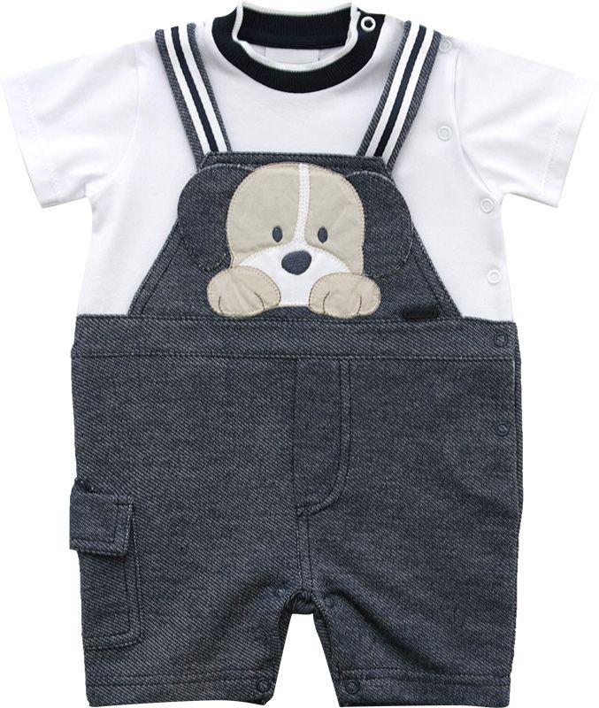 12.0191 - Macacão Curto Malhas Jeans com Bordado Cachorro