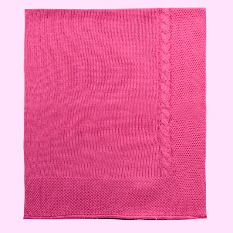 Manta com Tranças Rosa Chiclete