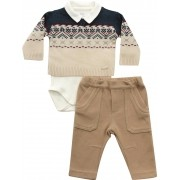 20.725 - Conjunto Body Sweater Jacquard Geometrico