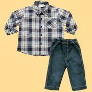 Conjunto Camisa Xadrez com Bolso