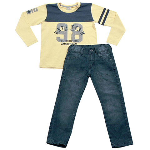 H21.117 - Conjunto Camiseta Estampada Calça Jeans - Have Fun