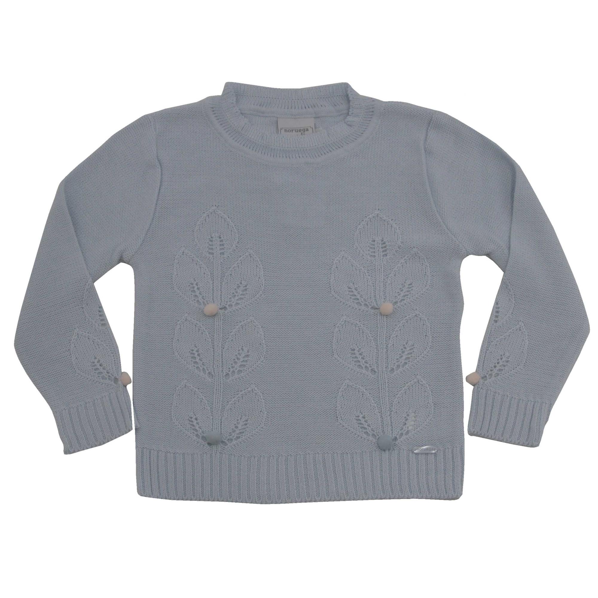 51.311 - Sweater com Ponto Folhas e Pompom
