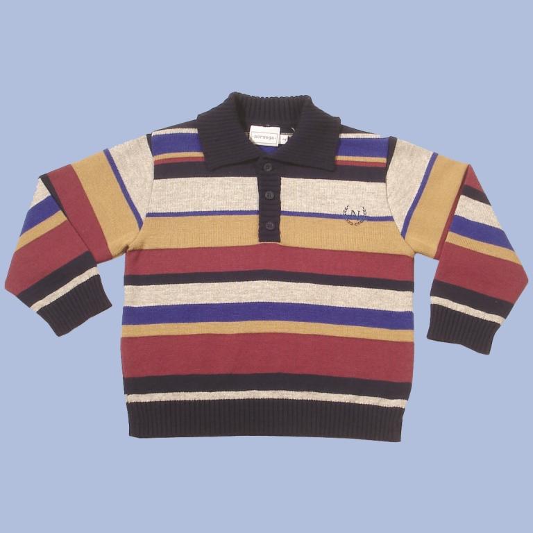 Camisa Polo Listrada Bordado N  - Loja Noruega