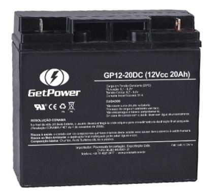 Bateria 12 Volts GetPower 20A GP12-20DC  - GENSETEC GERADORES