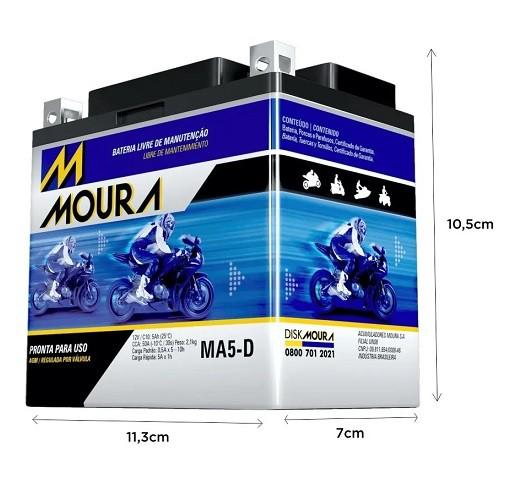Bateria 12 Volts Moura 5A MA5-D  - GENSETEC GERADORES