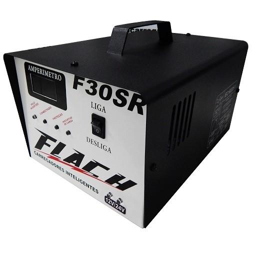 Carregador de Bateria Automático 12V  24V Flach F30 SR  - GENSETEC GERADORES
