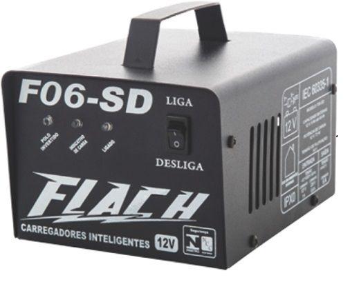 Carregador de Bateria Automático 12V Flach F06-SD  - GENSETEC GERADORES