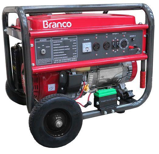 Gerador de Energia Branco B4T 8000E  6.5 kva Partida Elétrica  - GENSETEC GERADORES