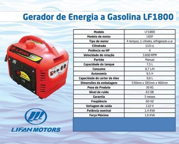 Gerador de Energia Portátil Lifan LF1800 110V 1.6 kva   - GENSETEC GERADORES