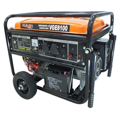 Gerador de Energia Vulcan VGE 8100 6.5 kva Monofásico Partida Elétrica  - GENSETEC GERADORES