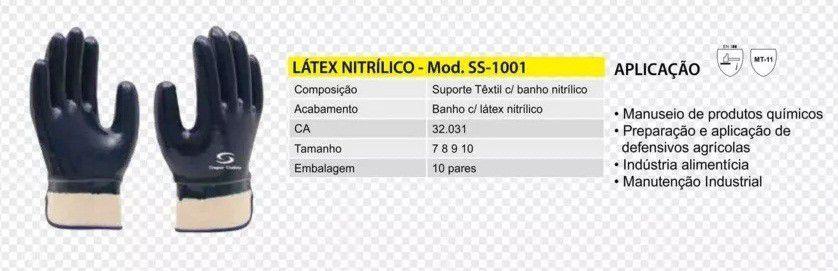 LUVA NITRÍLICA REFORÇADA COM PUNHO DE LONA