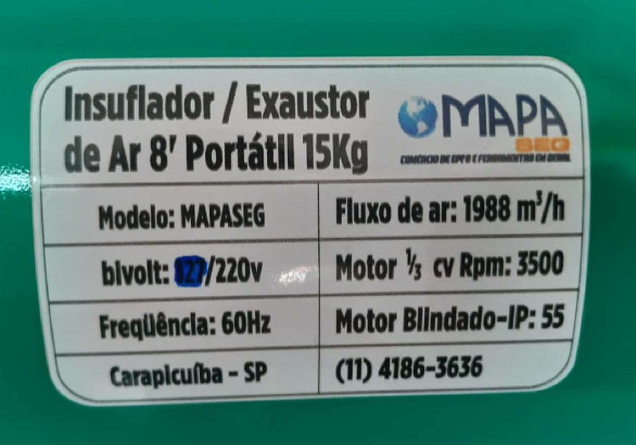 Exaustor Insuflador de Ar para Espaço Confinado com 10 mts de Duto PVC