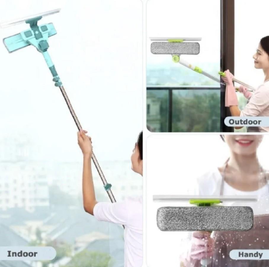 Limpa vidros e Janelas articulado Telescópico com rodo