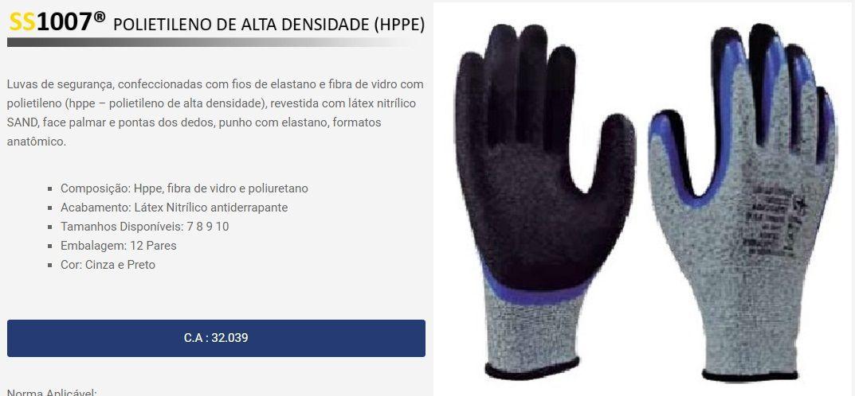 Luva Anti Corte De Fibra De Vidro Com Polietileno Ss1007