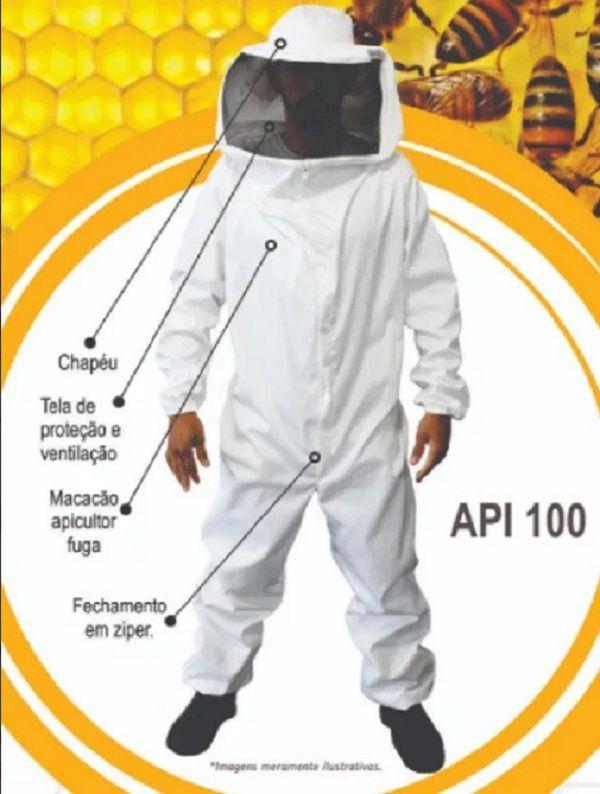 Macacão de Proteção para Apicultor + Par de Luvas Neopreme + Par de Botas de PVC