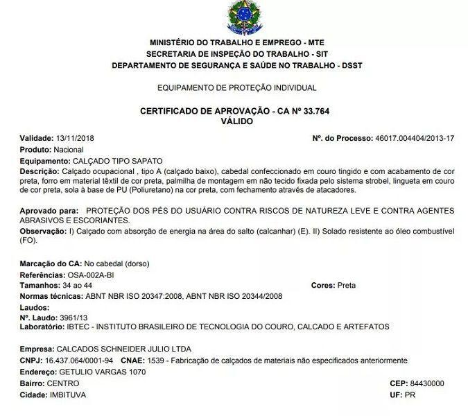 SAPATO DE SEGURANÇA COM CADARÇO CA33764