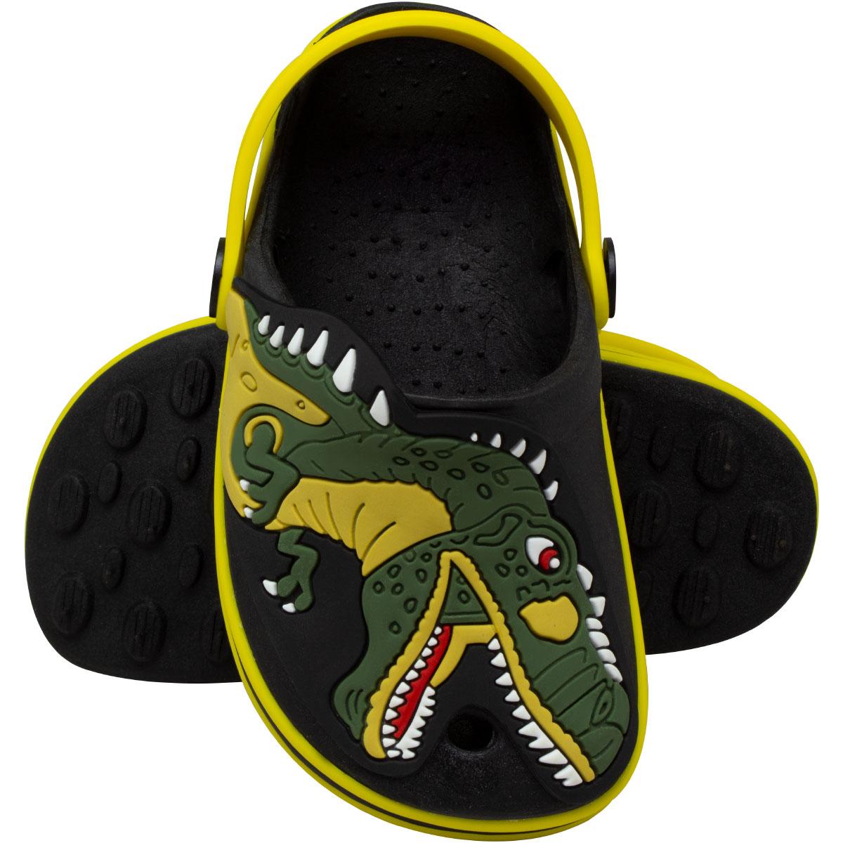 Babuche Infantil Masculino Fachetado Dinossauro T-rex