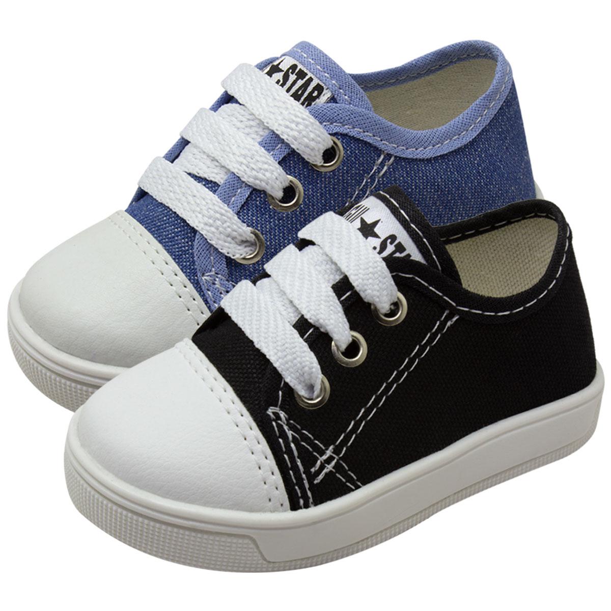 KIT 02 Pares de Tênis Infantil Star (Jeans e Preto)