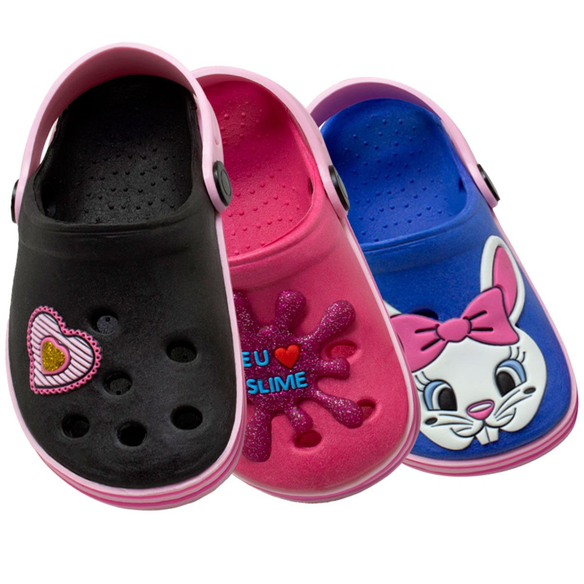 KIT 03 Pares de Babuche Infantil Fachetado (Slime Pink-Coração-Coelhinho Azul)