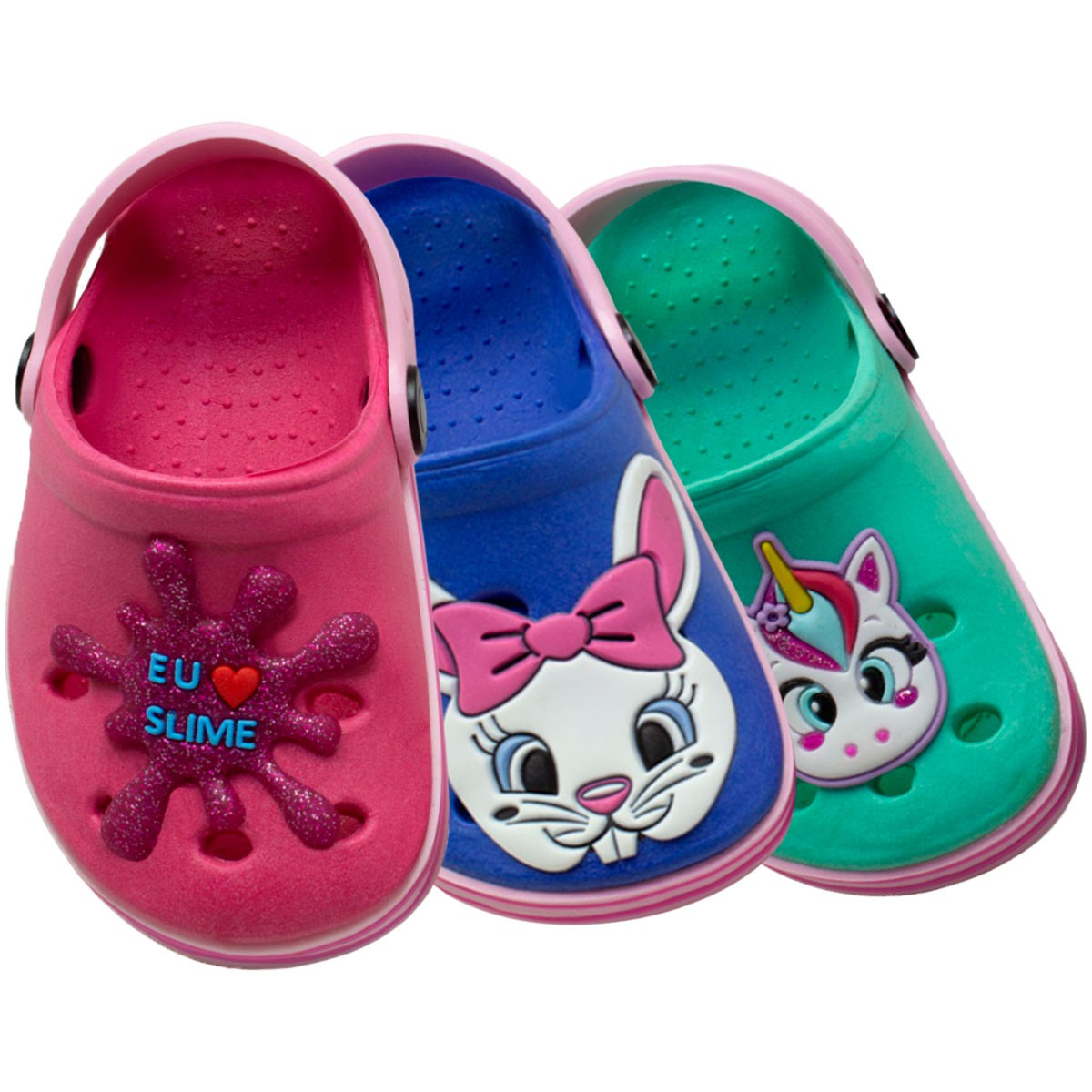 KIT 03 Pares de Babuche Infantil Fachetado (Slime Pink-Unicórnio Verde-Coelhinho Azul)