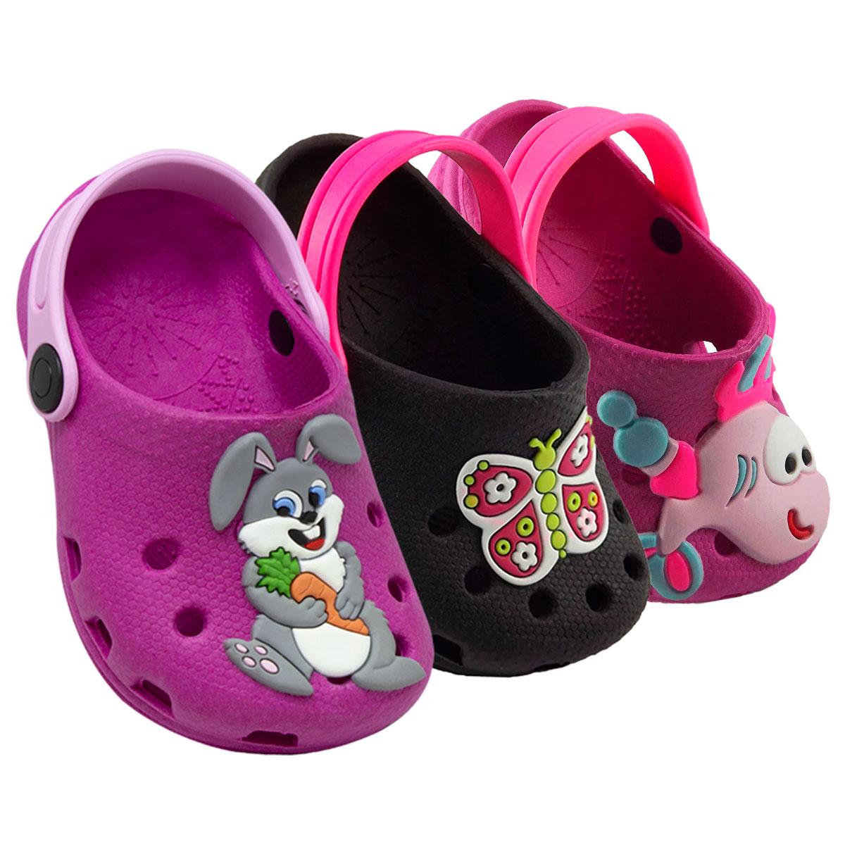 KIT 03 pares de Babuche Infantil Feminino ( Borboleta + Coelhinho + Peixe pink )
