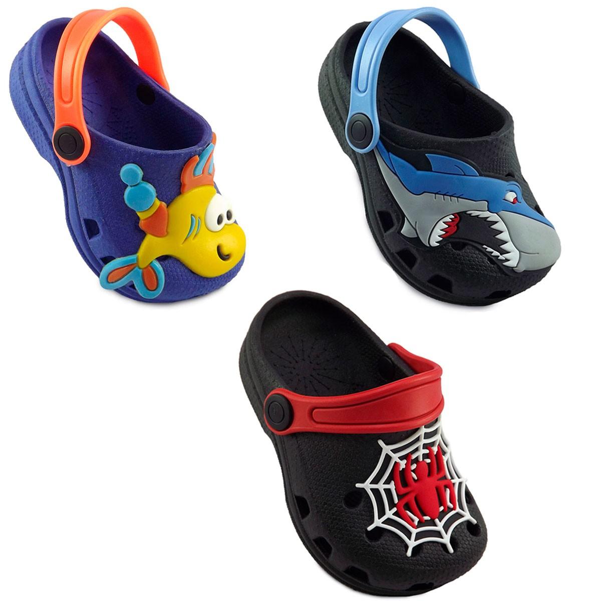 KIT 03 pares de Babuche Infantil Masculino ( Aranha + Tubarão + Peixinho )