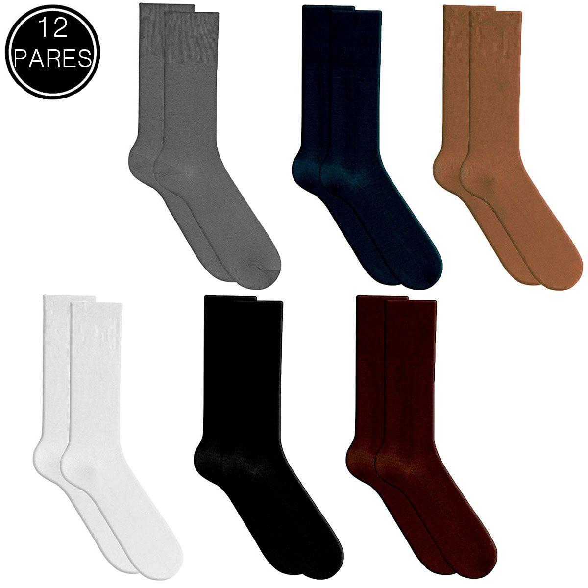 f9a76d94a Itra - Distribuidora de Calçados. Kit 12 Meias Social Masculina 100 ...