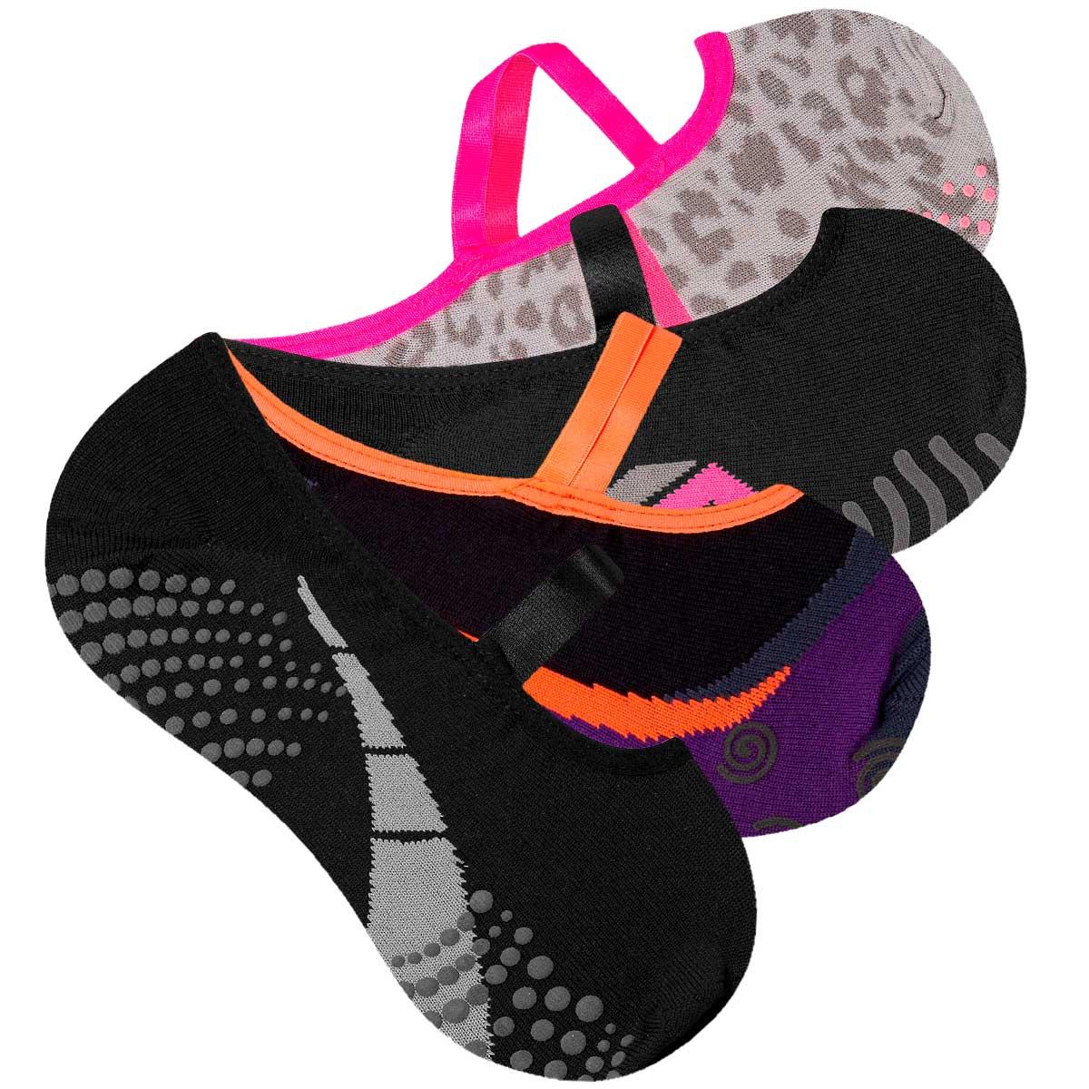 kit 4 Meias Sapatilha Pilates Antiderrapante Feminina Yoga