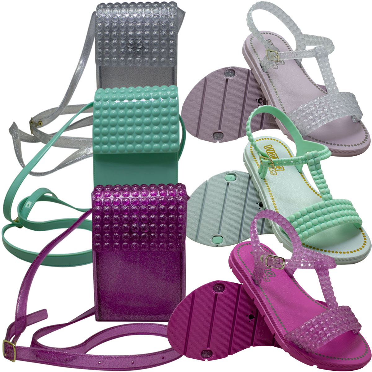 KIT Sandália com bolsa Infantil Feminina PVC