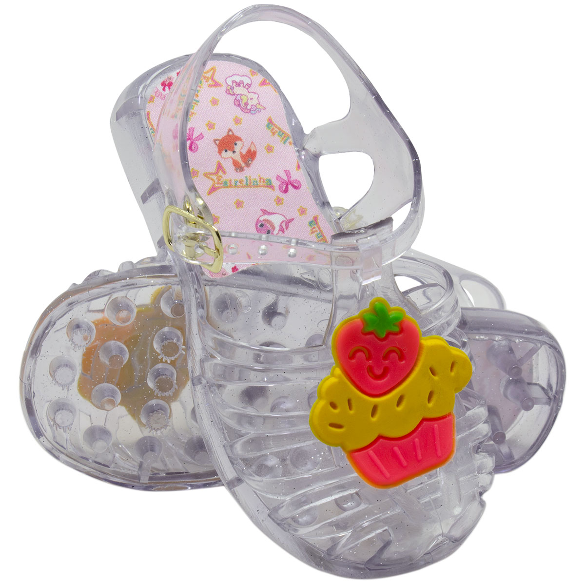 Sandália Infantil Feminina Mix Transparente Cupcake