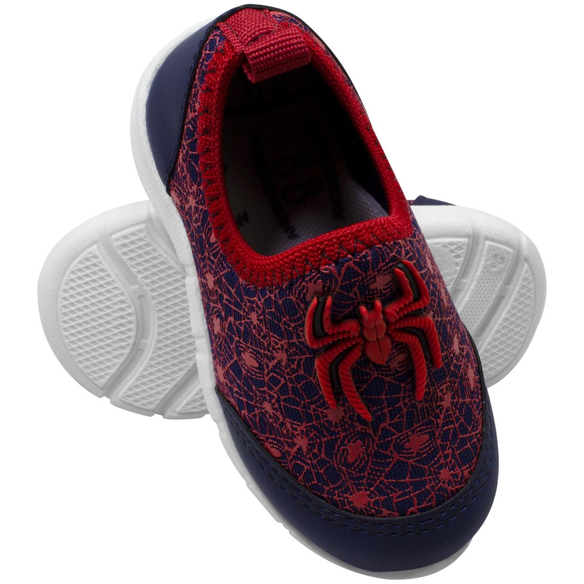 Tênis infantil masculino calce fácil aranha herói jogging 402-53-45