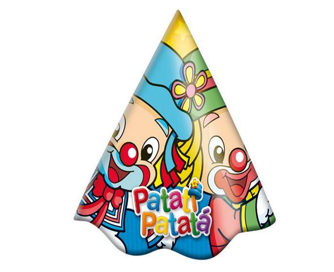 Chapéu de Aniversário Patati e Patatá Baby - 8 unidades
