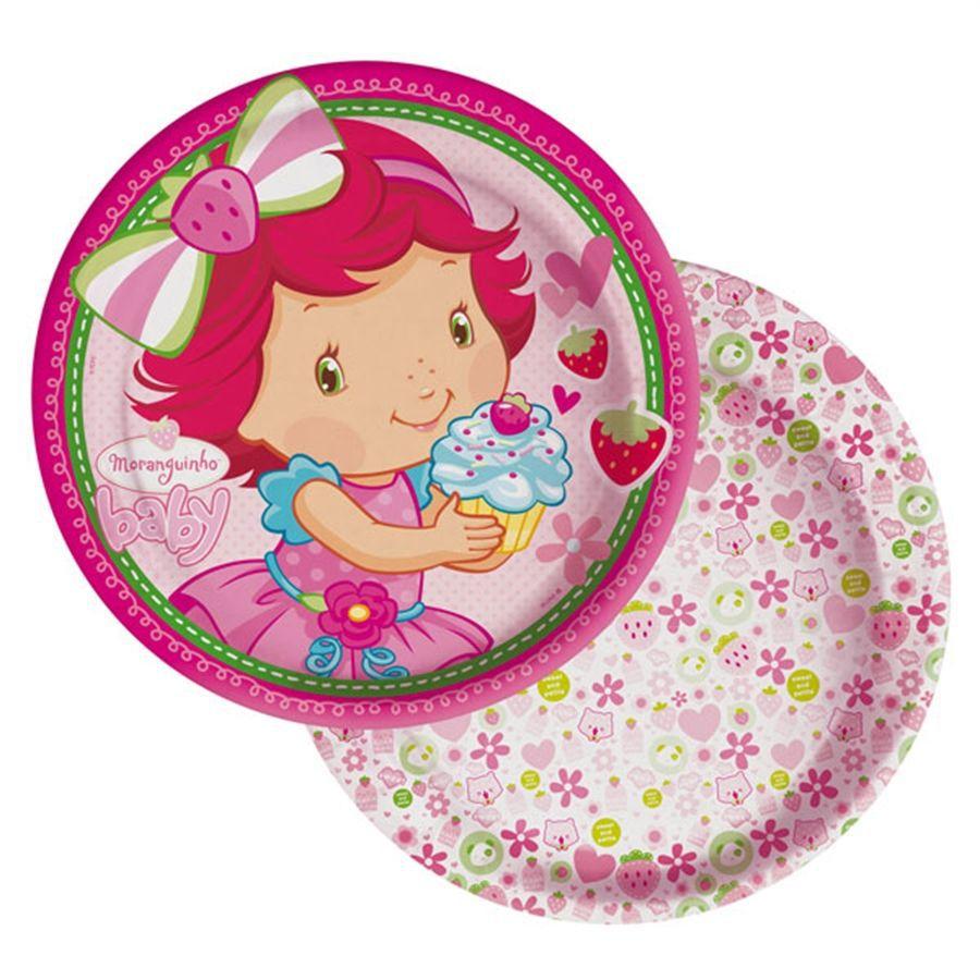 Prato Descartável Moranguinho Baby c/ 8 unid.