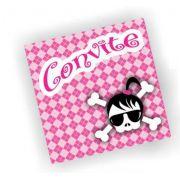Convite Caveira Rosa c/ 8 unid