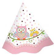 Chapéu de Aniversário Corujinha Rosa c/ 8 unid