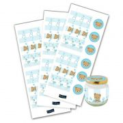 Adesivo p/ Lembrancinha - Redondo e Retângulo - Chá de Bebê - Baby Shower Ursinho - Azul