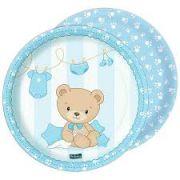 Prato Descartável Chá de Bebê - Baby Shower Ursinho - Azul c/ 8 unid