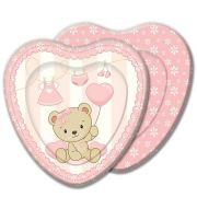 Prato Descartável Chá de Bebê - Baby Shower Ursinho - Rosa c/ 8 unid
