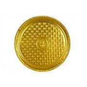 Prato Tabuleiro de Papelão - Laminado - Liso - N 6 - Dourado