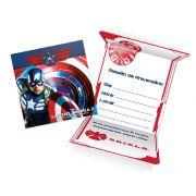 Convite de Aniversário Capitão América c/ 8 unid.