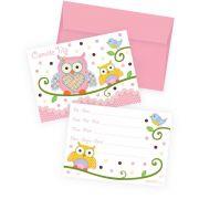 Convite com Envelope Corujinha Rosa c/ 8 unid.