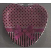 Prato Descartável - Coração - Poá Pink c/ marrom