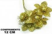 Enfeite Pick Flor Dourada/Vermelha