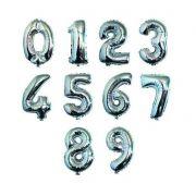 Balão Metalizado Números Prata - 1 metro
