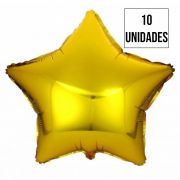 Kit 10 Balão Estrela Dourada
