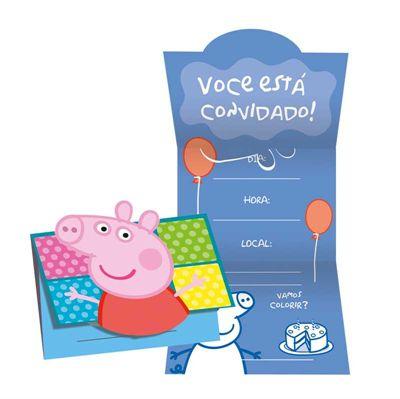 Convite de Aniversário Peppa Pig