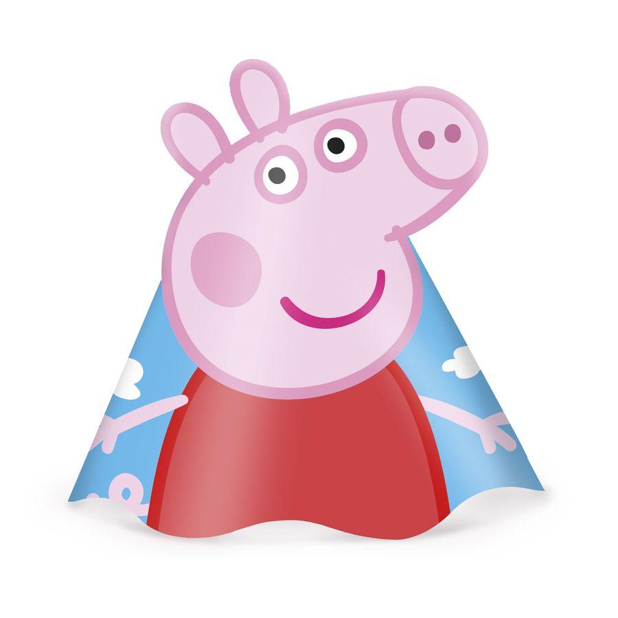 Chapéu de Aniversário Peppa Pig - 8 unidades