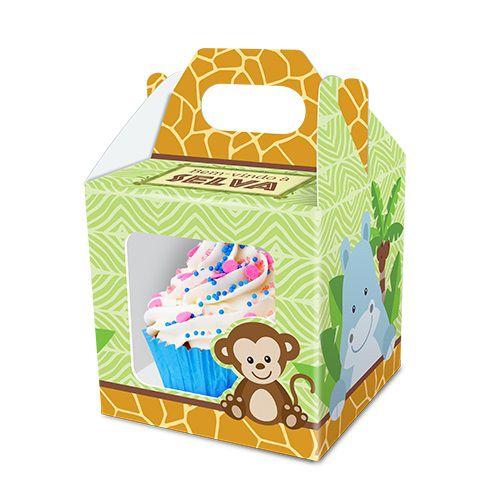 Caixa Cupcake Bem Vindo a Selva - Safari c/ 8 unid