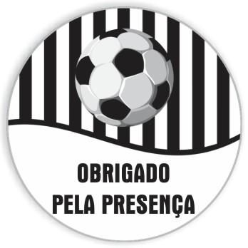 Adesivo p/ Lembrancinha - Redondo - Futebol Preto e Branco c/ 20 unid