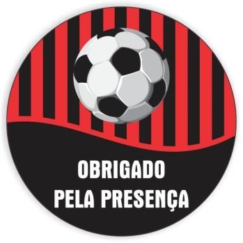 Adesivo p/ Lembrancinha - Redondo - Futebol Vermelho e Preto c/ 20 unid